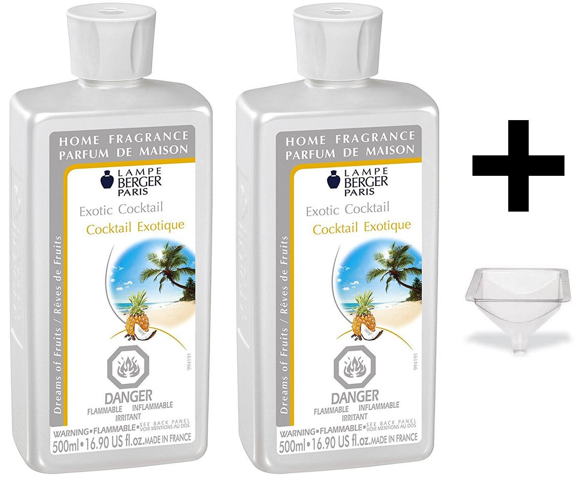 Lampe Berger Fragrance - Exotic Cocktail - 500ml/16.9 fl.oz. 2 Pack with FREE Funnel