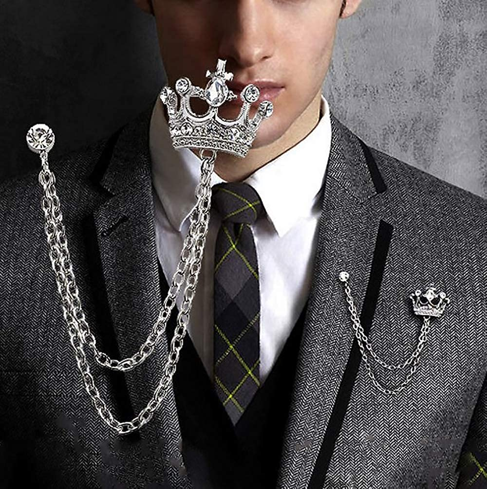 Tassel Chain Suit Jacket Brooch Pin for Men Husband Gifts Retro Crystal Corsage Pin YOOE British Style Rhinestone Crown Chain Brooch