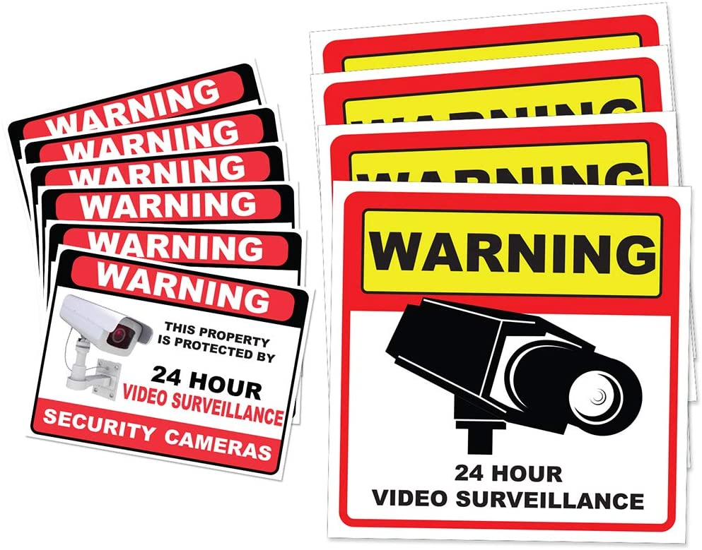 "Video Surveillance Camera Sticker Sign - 10 Pack Decal - Home Business Alarm System Stickers - (4)5½"" x 5½"" & (6)3"" x 4"" - Adhesive Under 24 Hours Security Warning Signs - Robbery & Theft Prevention"