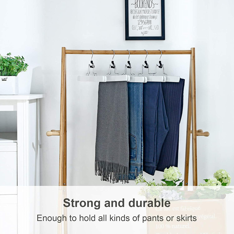 12 Pack Solid Wood Anti-Slip Felt 360/° Rotatable Hook Trouser Clamp Hanger SONGMICS Pants Hangers Brown UCRW07K-12