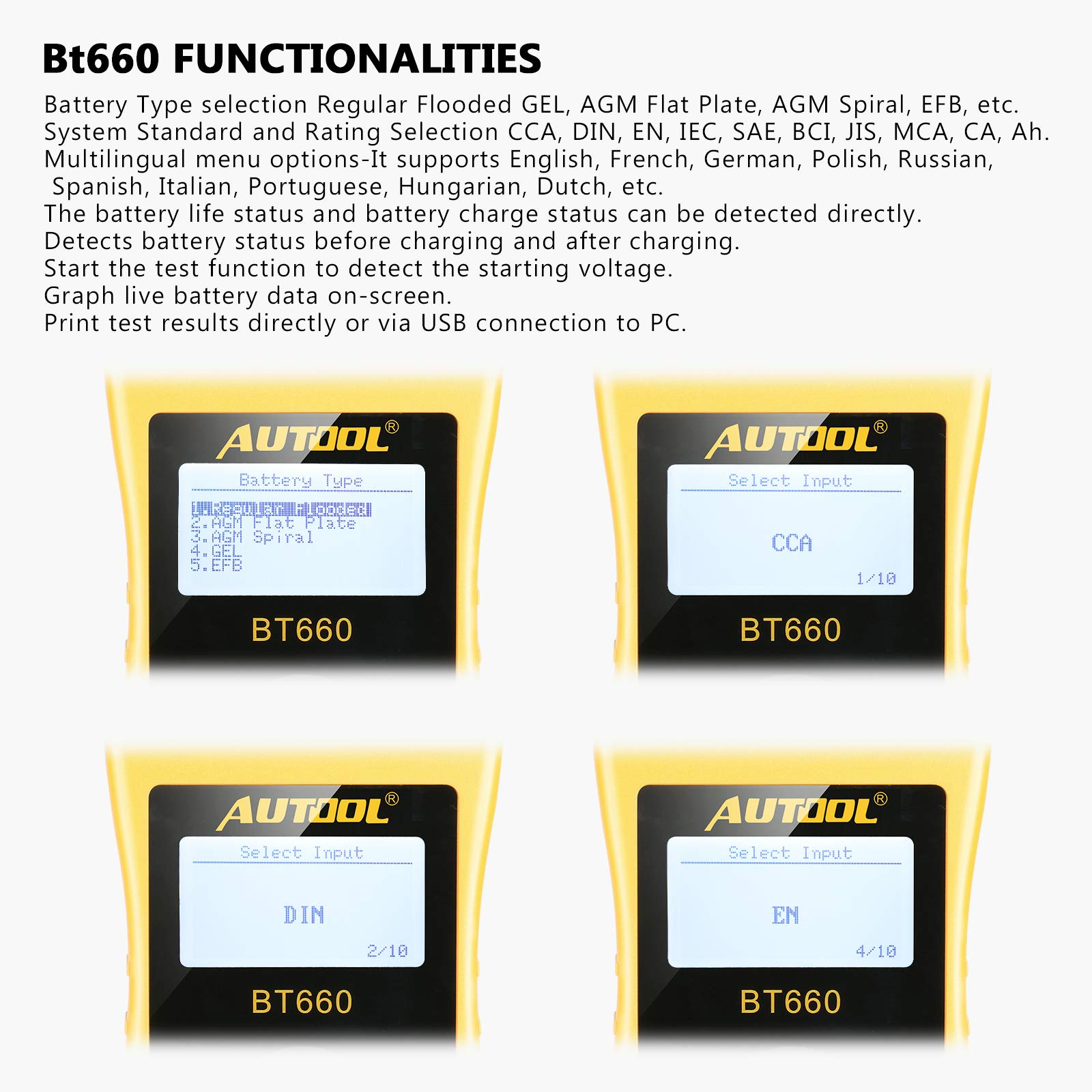 AUTOOL BT660 Battery Conductance Tester 12V/24V BT-660 Auto Battery Testers Automotive Diagnostic Tools for Heavy Duty Trucks, Light Duty Truck, Cars by AUTOOL (Image #5)