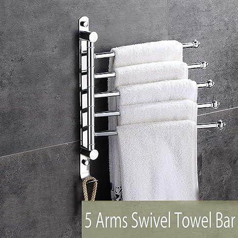 Amazon.com: Barra giratoria de toalla de 5 brazos, de acero ...