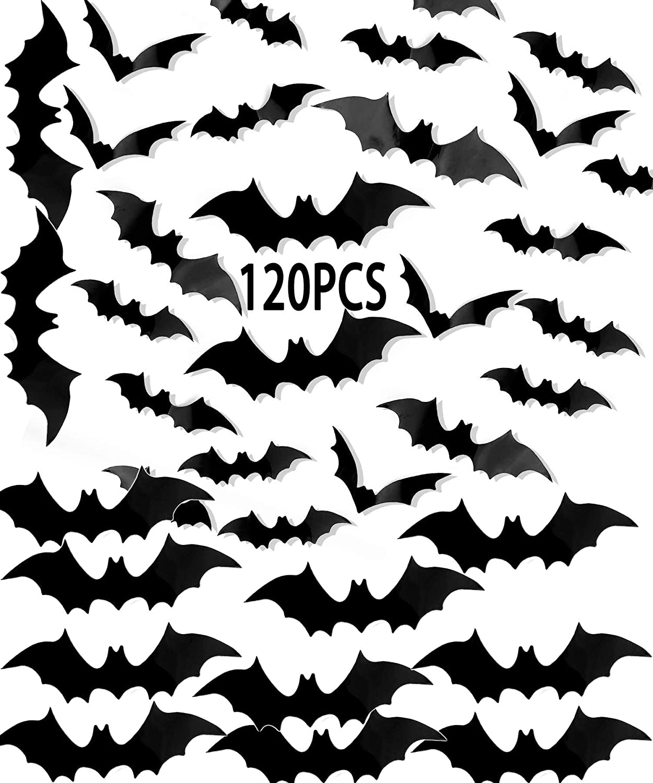 Bats 3D Wall Decor, 120 Pcs Bat Halloween PVC Wall Decal Party Supplies 4 Size Decorative Sticker Waterproof Black Spooky Bats for Home Craft Window Room Indoor Outdoor Yard Decor