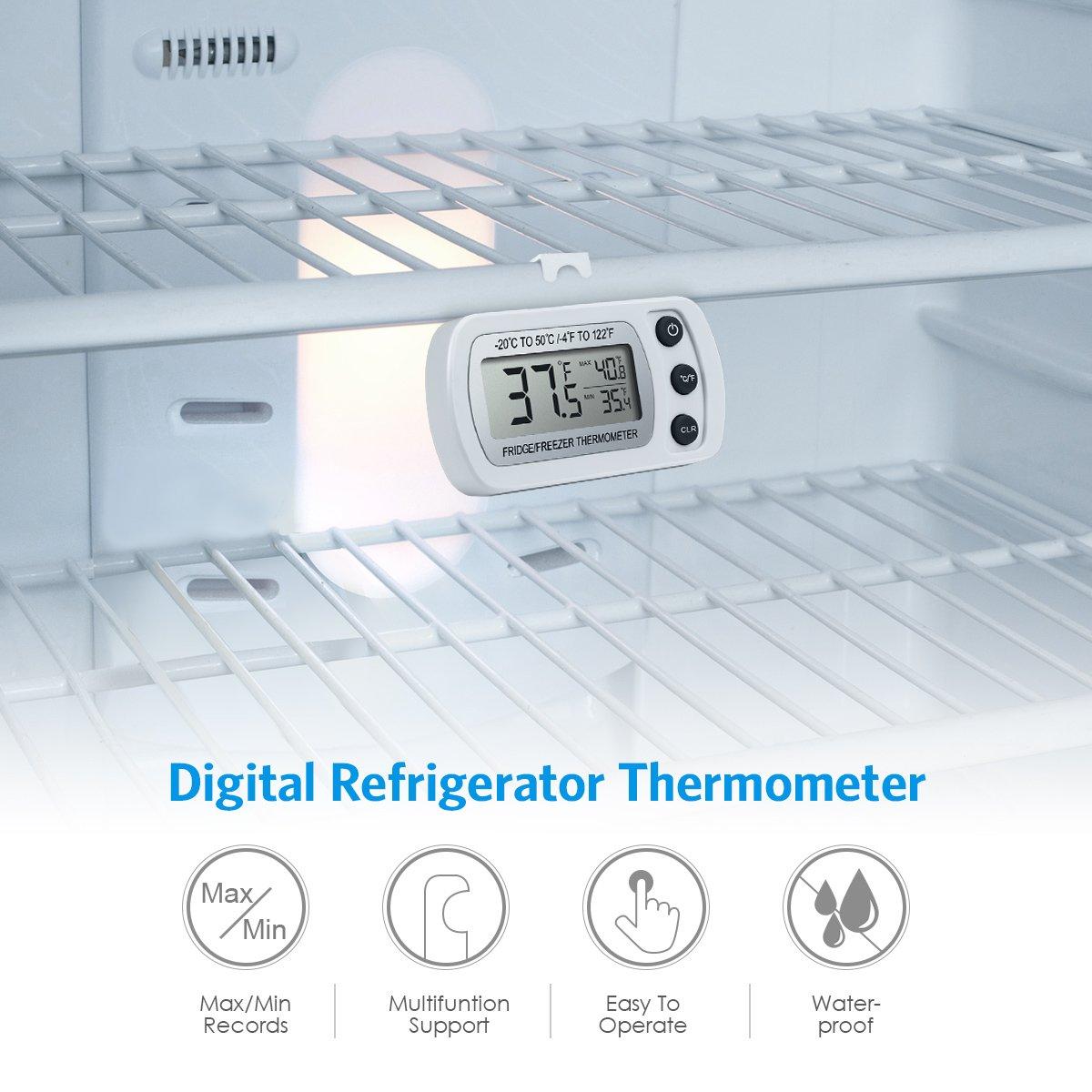 Amir - Termómetro digital para frigorífico y congelador de tamaño ...