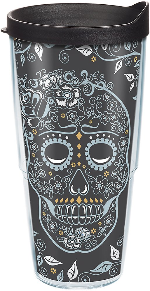 Tervis 1268926 Fiesta - Skull and Vine Tumbler with Wrap 9oz Stemless Wine Glass, Clear