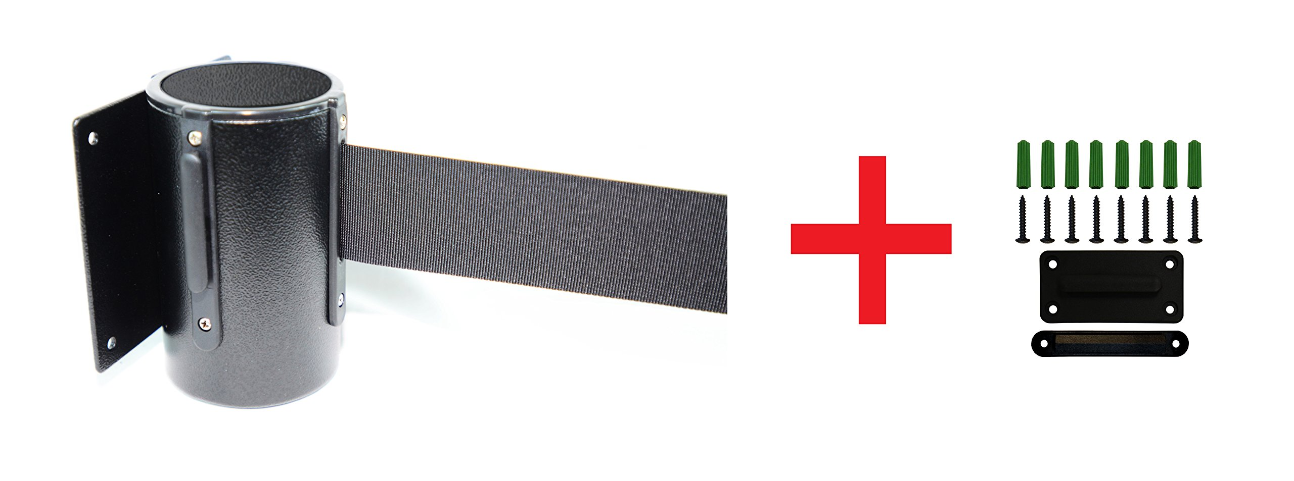 Retractable Wall Barrier 156''L, Black Belt With Tuff Tex Black Finished