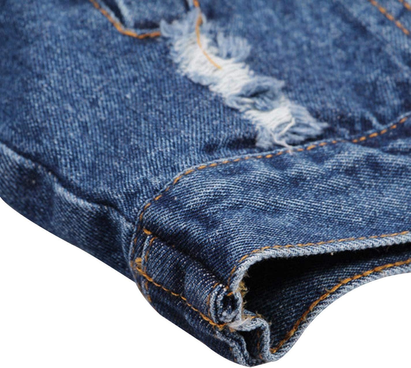 BXSkXOta Womens Beaded Pearl Hole Washed Denim Jacket