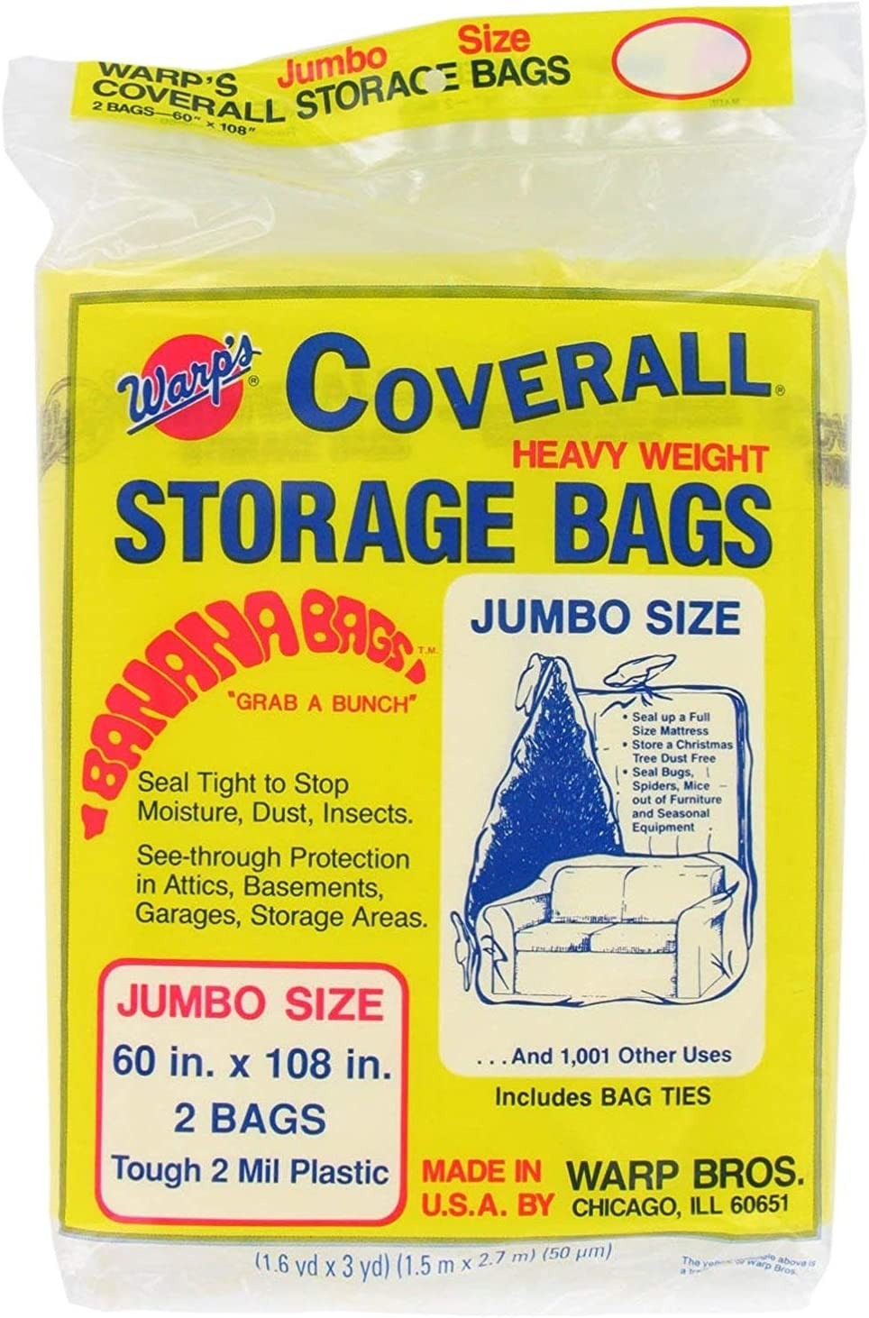Warp Brothers CB-60 Banana Bags 6-Count Storage Bags, 60-Inch by 108-Inch