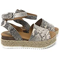efcfa9397 Womens Casual Espadrilles Trim Rubber Sole Flatform Studded Wedge Buckle  Ankle Strap Open Toe Sandals