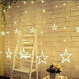 LINSAM イルミネーション つらら LED ライト USB & 電池式 カーテン ライト クリスマス 電飾 飾りライト 138球 2.5M 12個星 結婚式、学園祭、ガーデンパーティー、フェンス 屋内外装飾 (190 球)