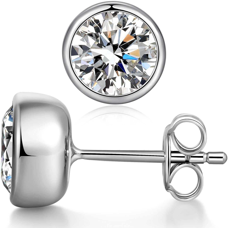 Bezel Set Earrings - Sterling Silver Cubic Zirconia Bezel-Set Martini Stud Earrings,Round Cut Basket Set Stud Earrings,Fake Diamond CZ Stud Earrings,Simple AAA Cubic Zirconia Solitaire Earrings Women