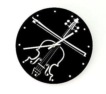 Reloj de pared original de un Violín, metacrilato, silencioso, moderno: Amazon.es: Hogar