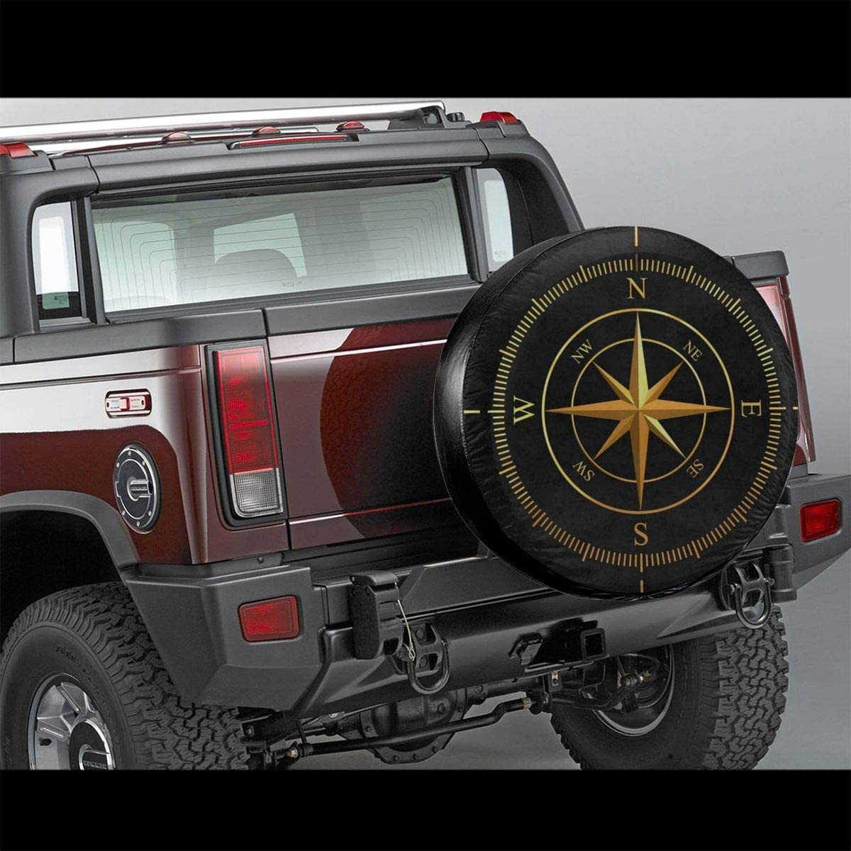 RV Golden Compass Black Spare Tire Cover UV Sun Wheel Covers Fit for Jeep,Trailer SUV and Many Vehicle 16 Inch