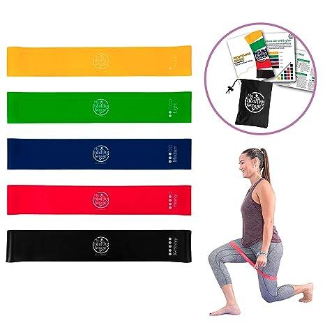Bandas Elásticas Fitness| gomas elásticas para musculación, pilates y yoga|Set 5 mini bands para todo tipo de entrenamiento y ejercicios Guía, ...