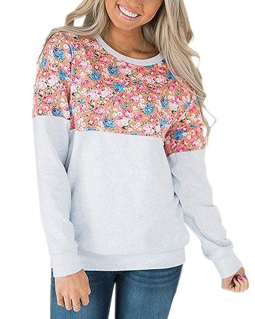 Tomwell Mujer Otoño Sudaderas Moda Impresión Sweatshirt Cuello Redondo Manga Larga Blusa Camisetas Pullover Tops: Amazon.es: Ropa y accesorios