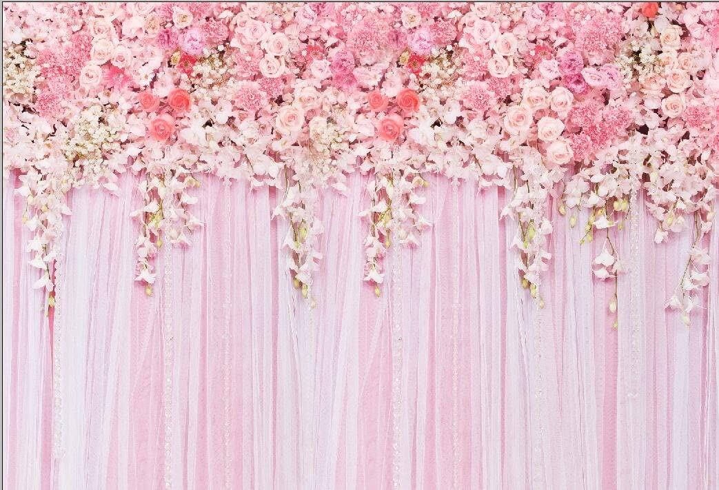 10x7ft Romantic Wedding Photo Background Pink Curtain Bulbs Decoration Vinyl Photography Backdrops Yellow Flowers Spring Park Scenery Green Grass Newlyweds Portraits Shooting