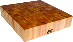 John Boos Block BB01 Classic Reversible Maple Wood End Grain Chopping Block, 24 Inches x 24 Inches x 6 Inches