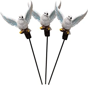 BANBERRY DESIGNS White Dove Garden Decorations - Set of 3 Poly Stone Doves on Sticks Memorial Statues Yard Ornaments - Peace and Hope Bird Figurines