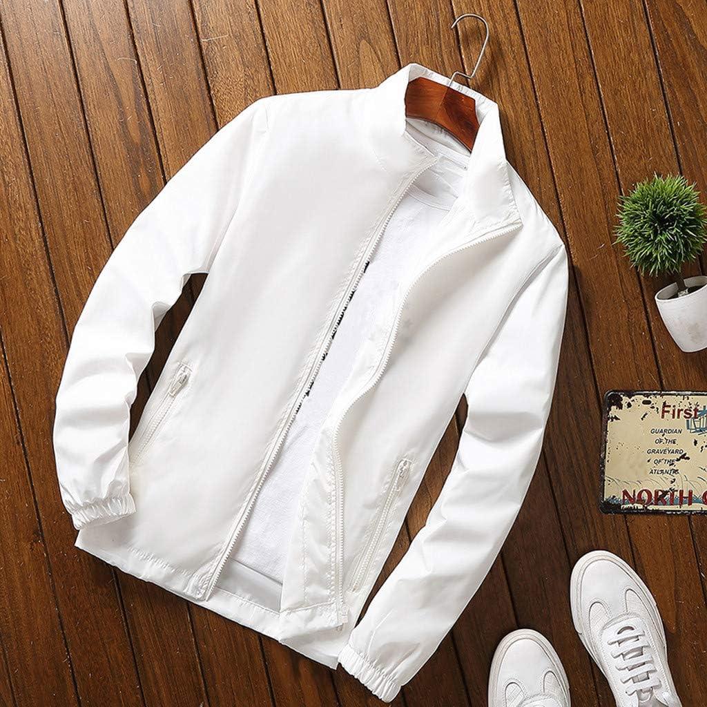 iHAZA Hommes L'automne Hiver Décontractée Couleur Pure Grande Taille Fermeture éclair Sport de Plein air Veste Manteau Blanc