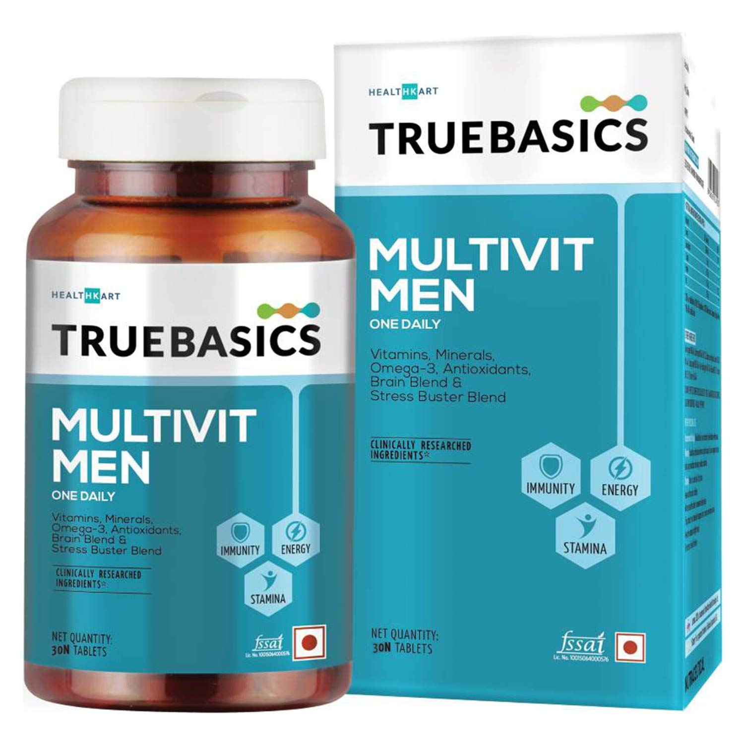 TrueBasics Multivit Men One Daily, Multivitamin for Men, Multiminerals, Omega 3, Nutrition Supplement for Energy, Immunity & Stamina (30 Tablets)