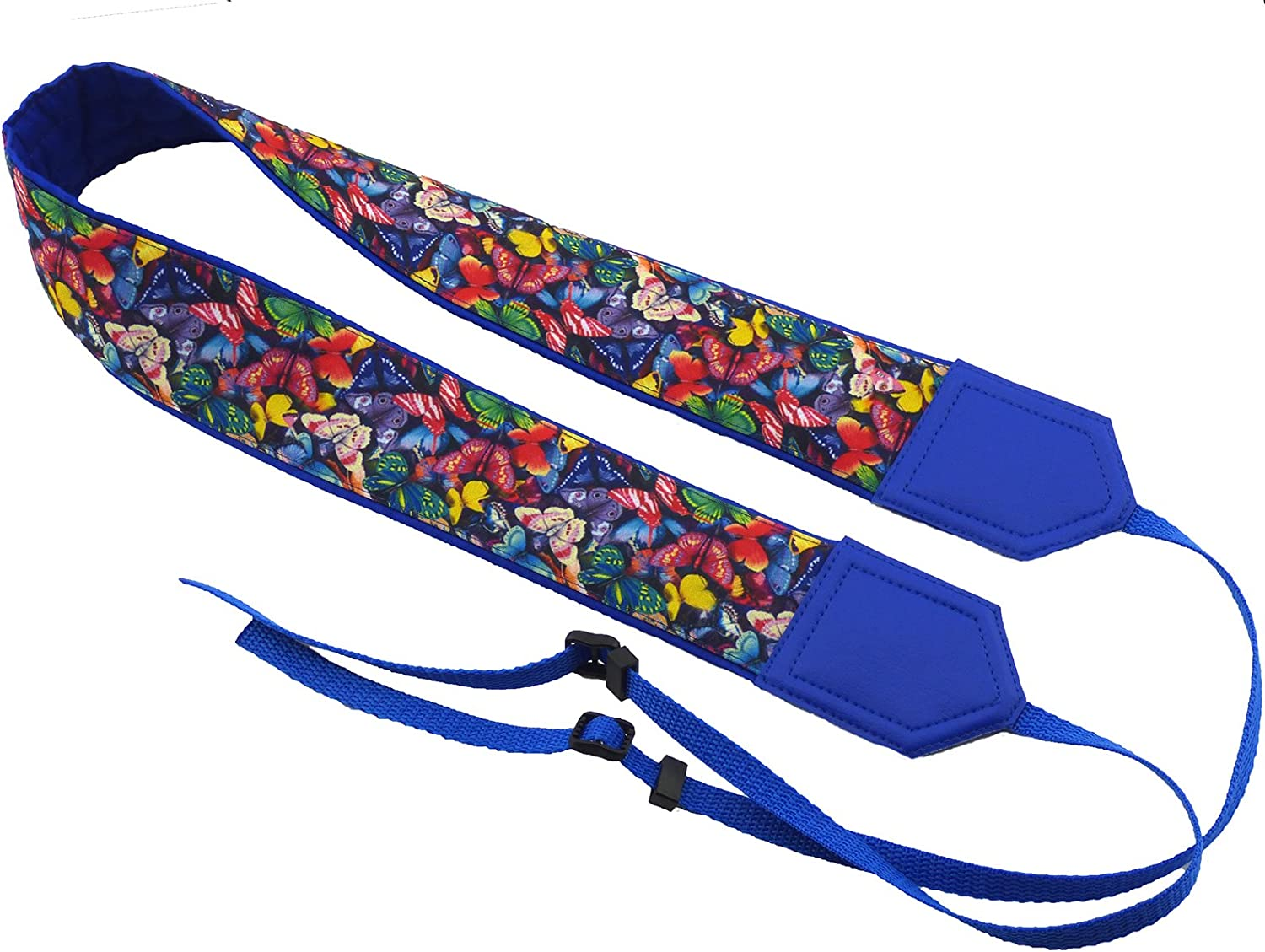 Butterflies Camera Strap Insects Code 00306 Padded Camera Strap Durable Blue Light Neck Camera Strap Bright Multicolor