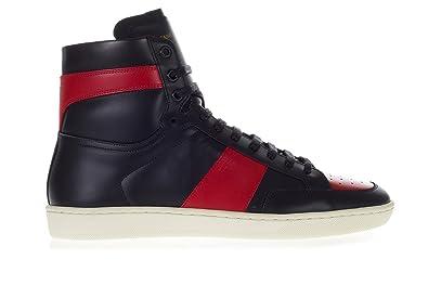 0018ee6f659 Saint Laurent Men's Black Leather SL/10H Signature Court Classic Hi-Top Sneakers  Shoes