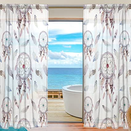 SEULIFE Window Sheer Curtain Dreamcatcher Feathers Tribal Boho Bohemian Voile Drapes For Door Kitchen