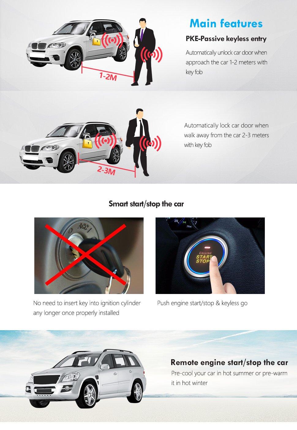 Amazon.com: EASYGUARD EC003 Smart Key PKE Passive Keyless Entry Car ...