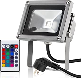 Albrillo LED 10W Foco proyector para exteriores, con RGB de 16 ...