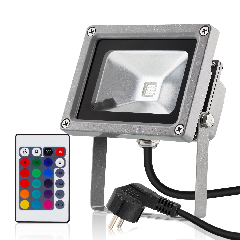 Albrillo LED 10W RGB Fluter mit 16 Farben inkl. Fernbedienung ...