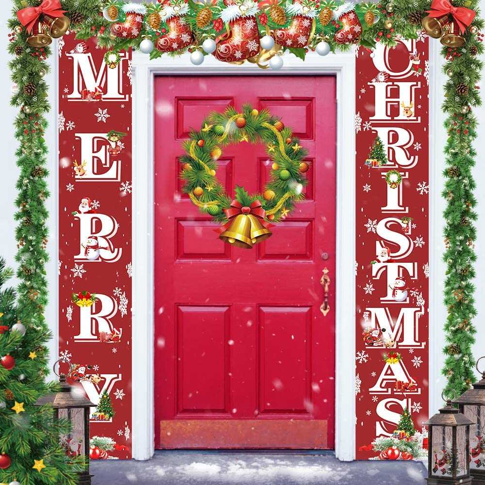 Runide Christmas Porch Sign,Red Merry Christmas sign-Outdoor Xmas Decor Set,Hanging Decorations for Home Outdoor Indoor Wall Front Door Decor