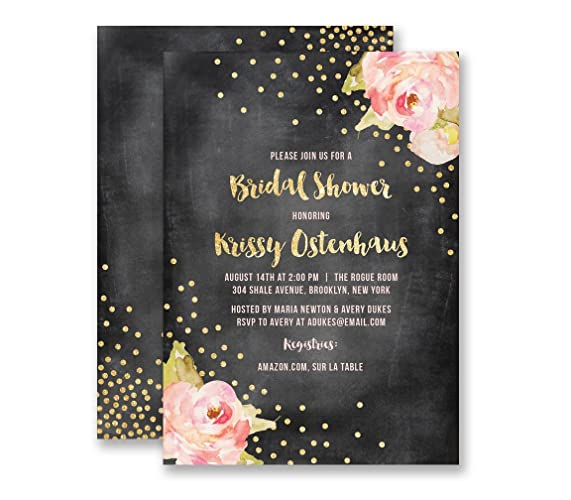 chalkboard bridal shower invitations gold glitter look peony boutique invites with envelopes krissy style