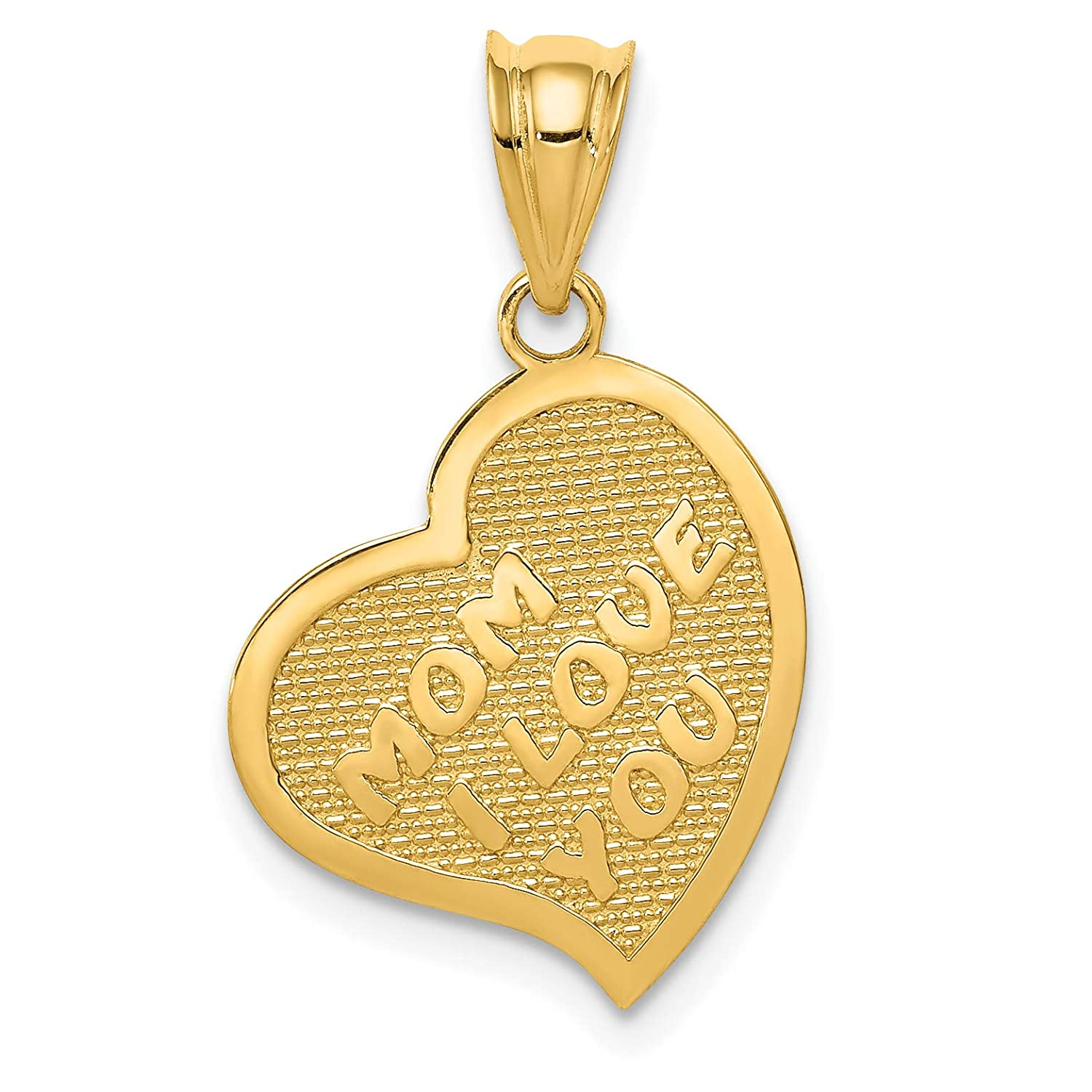 14k Yellow Gold Reversible Mom I Love You Words With Cross On Back Heart Pendant 18x14mm