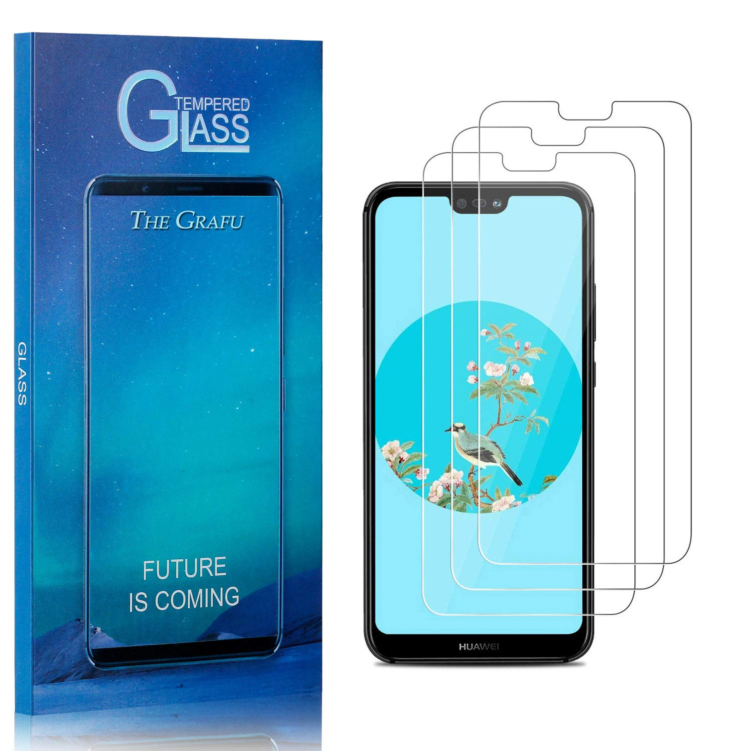 Ultra Clear Drop Fall Protection 9H Tempered Glass Screen Protector for Huawei P20 4 Pack Bubble Free The Grafu Screen Protector for Huawei P20