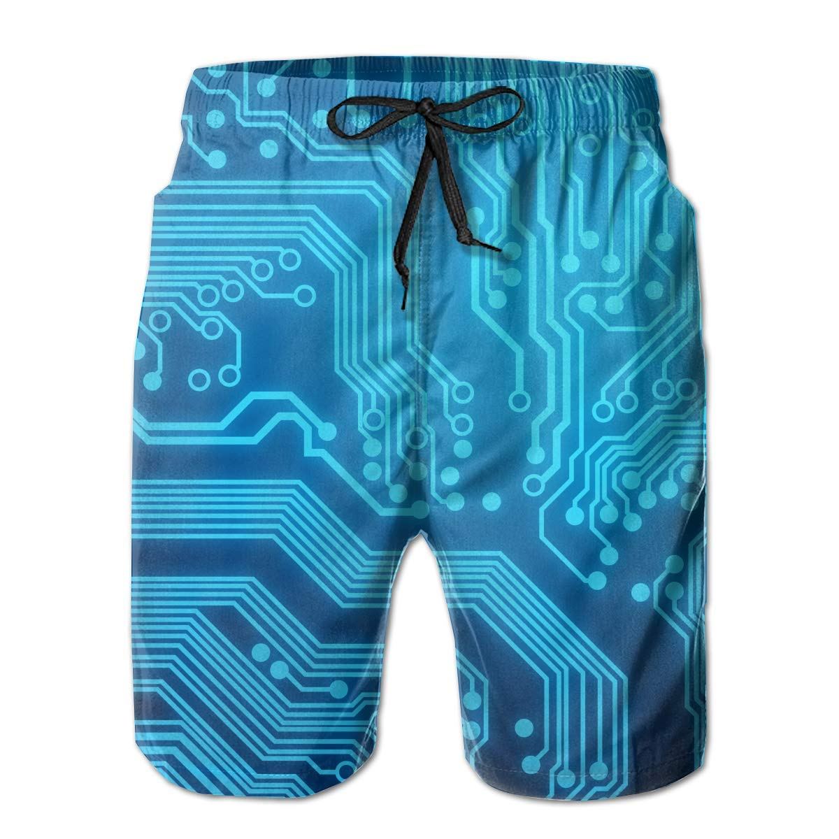 Circuit Board Quick Dry Elastic Lace Boardshorts Beach Shorts Pants Swim Trunks Unique Man Swimsuit with Pockets