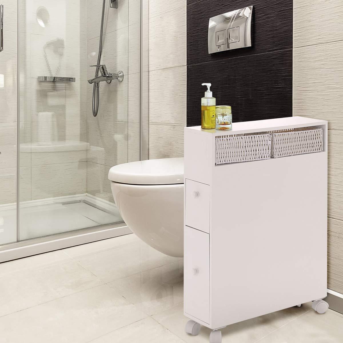 Tangkula Bathroom Storage Wood Bathroom Rolling Floor Cabinet Wooden Floor Home Bath Toilet Organizer Floor Storage Cabinet with Drawers and Baskets