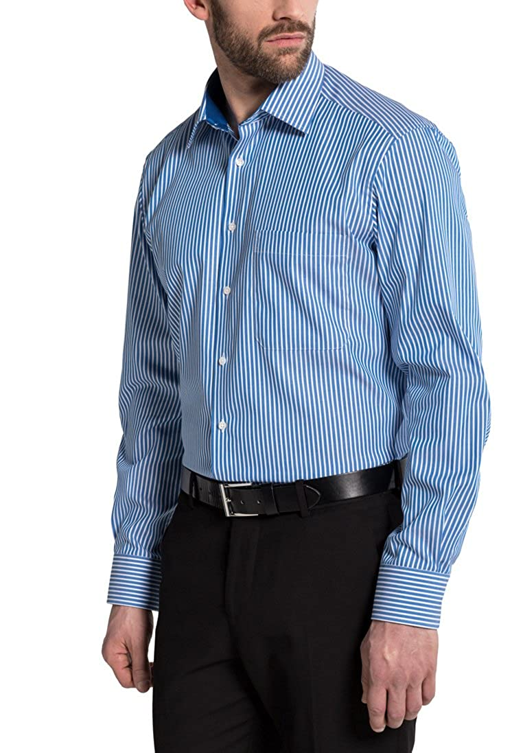 Eterna Long Sleeve Shirt Comfort Fit Textured Weave Striped