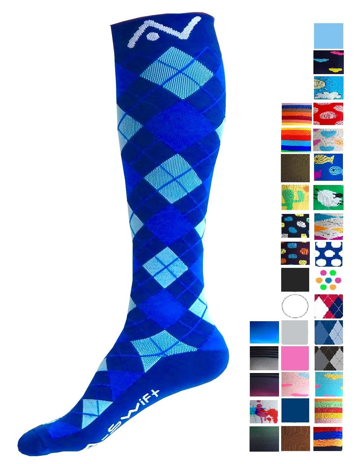A-Swift Compression Socks (1 pair) for Women & Men by Best For Running, Athletic Sports, Crossfit, Flight Travel - Suits Nurses, Maternity Pregnancy - Below Knee High (Blue Argyle, Small)