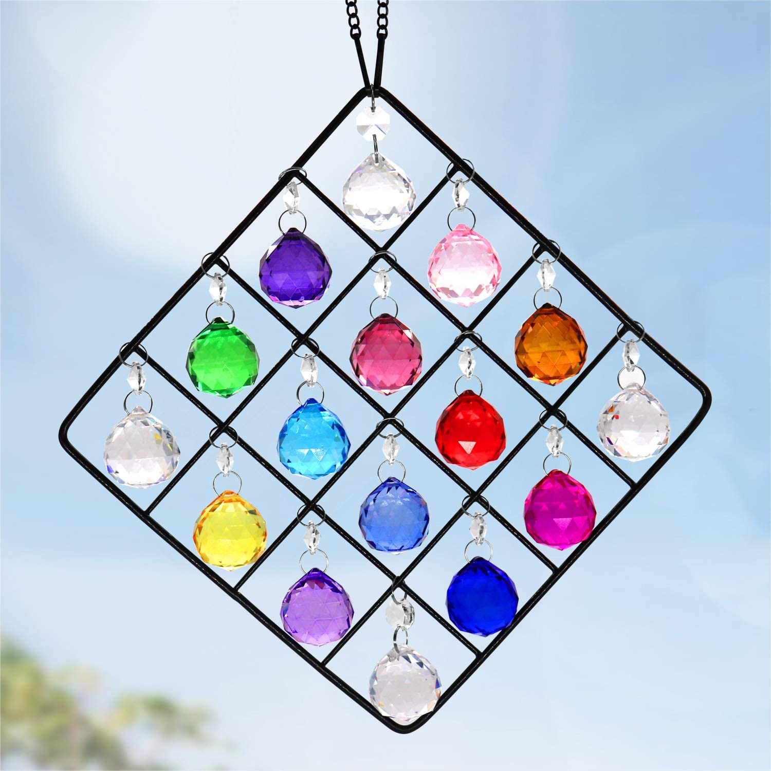 16 -Pack Clear Glass Crystal Ball Prisms Window Rainbow Maker Metal Crystal Garden Pendant Crystal Ornament Sphere Faceted Gazing Ball Suncatcher for Window, Garden, Home Decoration((Colorful)