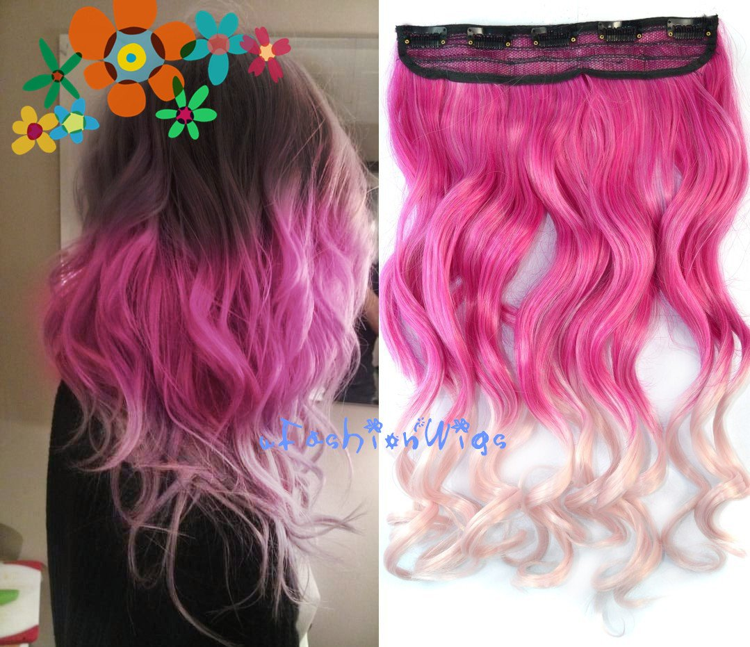 Black to Purple to Grape Purple Three Colors Ombre Hair Extension, Synthetic Hair Extensions UF204 FashionWigs