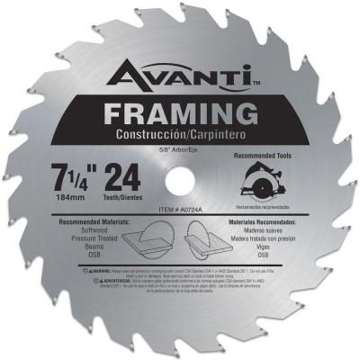 Avanti 7-1/4 in. x 24-Tooth Framing Saw Blade-A0724A - The Home Depot