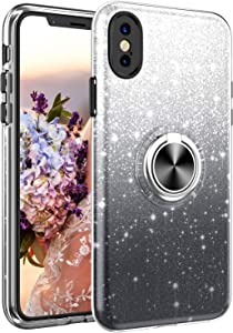 iPhone Xs Case, iPhone X Case,NCLcase Bling Sparkly Glitter Cute Phone Case for Women Girls with Kickstand,Slim Fit Drop Protection Shockproof Cover for iPhone Xs/iPhone X - Black