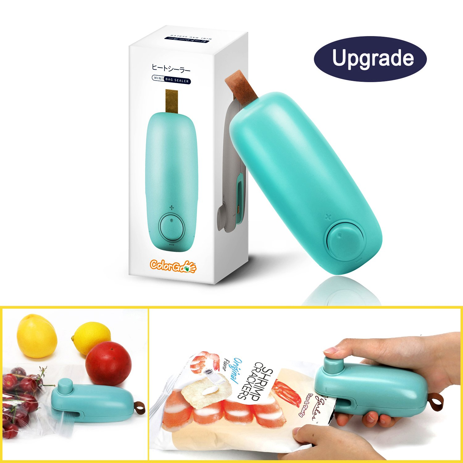 ColorGo BS2 Chip 2 in 1 Hand Held Mini Portable Heat Sealer for Plastic Bags Food Storage Resealer with Safety Lock, Mint Green