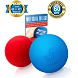 WonderFit Massage Lacrosse Balls for Myofascial Release, Trigger Point Therapy, Muscle Knots and Yoga Therapy + FREE Ebook with 10 Amazing and Effective Exercises - Set of 2 Firm Trigger Point Balls