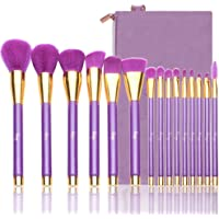 Qivange Makeup Brush Set, Professional Foundation Powder Eyeshadow Brushes(Purple with Gold, 15 PCS)