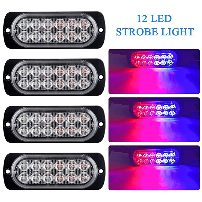 12LED Recovery Strobe Flashing Grill Blue Light Truck Beacon Breakdown Lamp