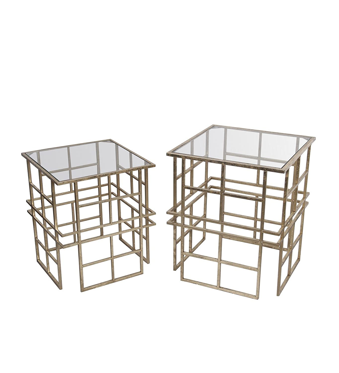 Privilege 18711 Iron and Glass Accent Stands Gold 2 Piece