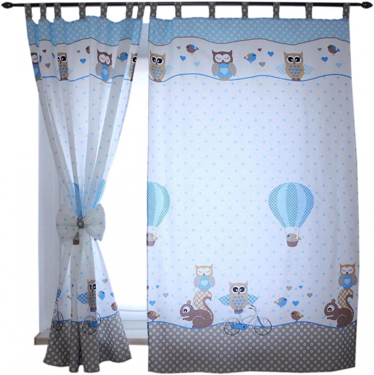 TupTam Tende con Bracciali per Camerette per Bambini 2 pz c 155x95 cm Bambino Animali Beige