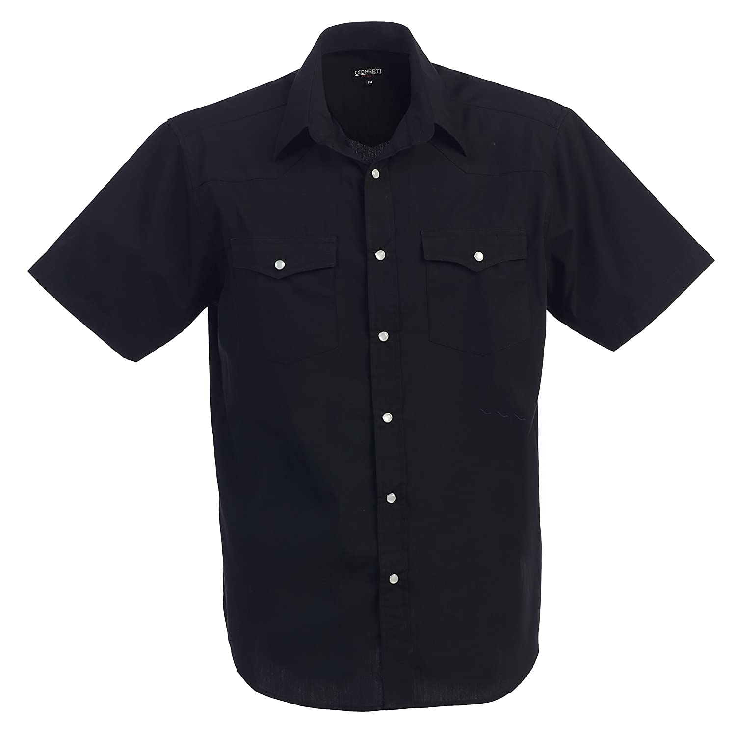 1950s Mens Shirts | Retro Bowling Shirts, Vintage Hawaiian Shirts Gioberti Mens Casual Western Solid Short Sleeve Shirt With Pearl Snaps $22.99 AT vintagedancer.com
