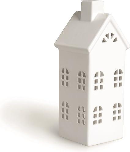 Excelsa Lanterne de Maison en C/éramique Blanc 8 X 8 X 23 cm
